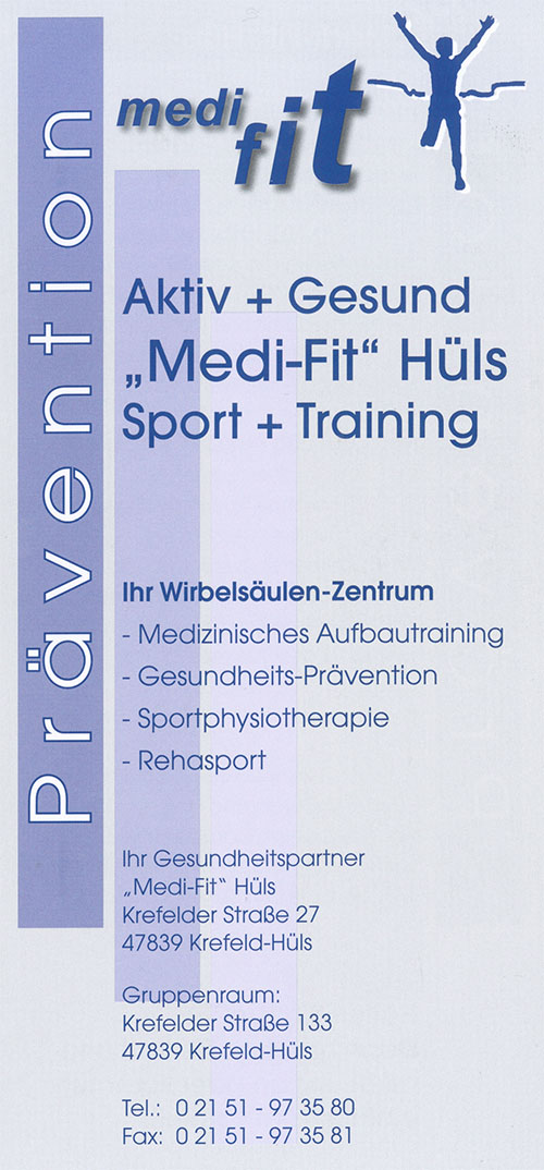 Flyer Medifit - Michael Zuidberg Physiotherapie UG in 47839 Krefeld