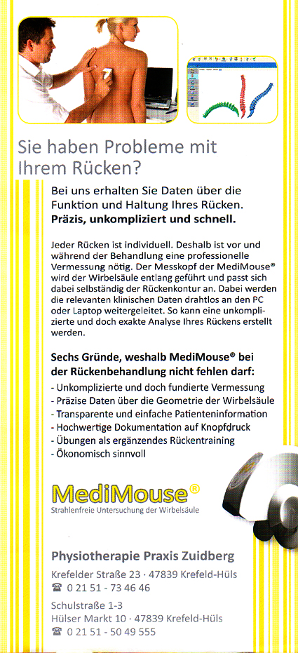 Flyer Medi Mouse - Michael Zuidberg Physiotherapie UG in 47839 Krefeld