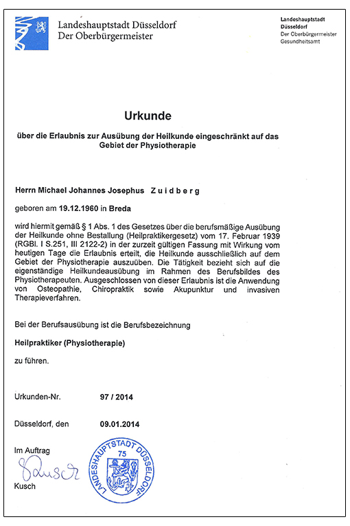 Urkunde - Michael Zuidberg Physiotherapie UG in 47839 Krefeld